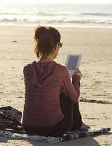 e-book on the beach